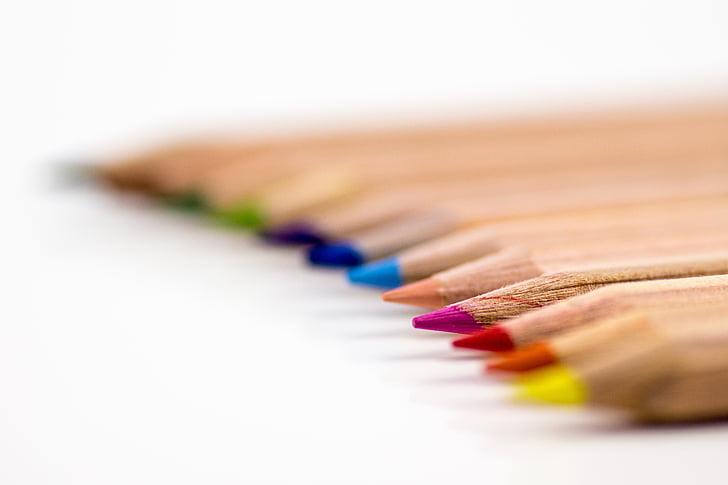 цветни моливи, писалки, моливи, цветни моливи, цветни, цвят, пишещи принадлежности