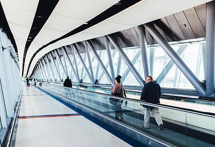 Letiště, Letiště, stravování, eskalátor, Gatwick, přistání, letadla