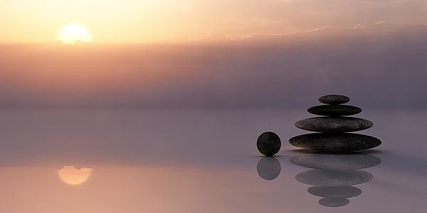 equilibri, meditació, meditar, silenciós, resta, cel, sol