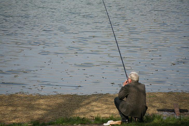fishing, fisherman, water, catching, fish, lake, river
