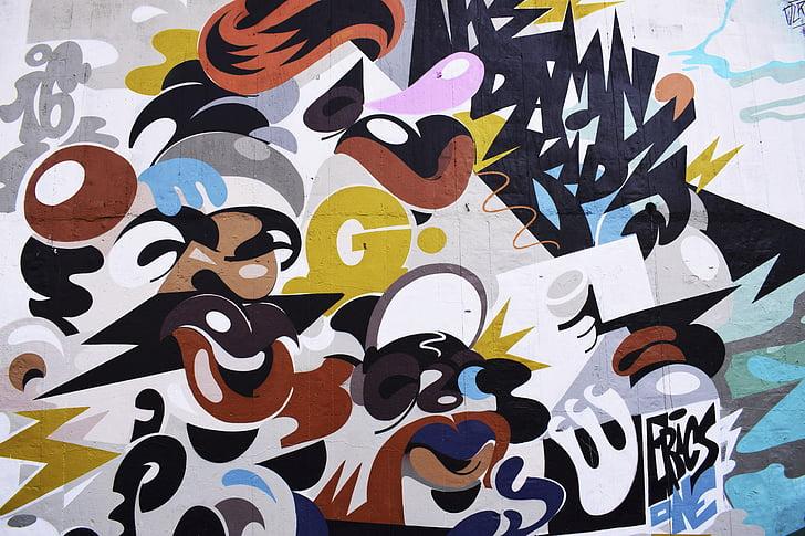 fal, utca, Art, design, absztrakt, vandálbiztos, spray festék