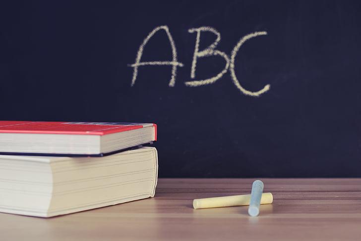 two, yellow, chalks, near, hardbound, books, school