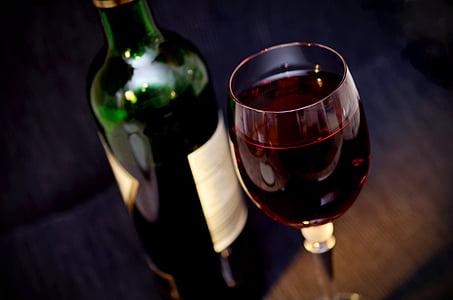 vino, vetro, bere, alcol, beneficiare di, bicchiere di vino, rosso