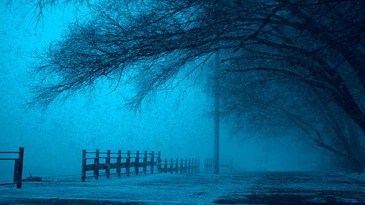 zimné, Moskva, Rusko, centrum, Vianoce, silné, sneženie
