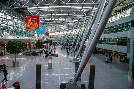 airport düsseldorf, airport, architecture, station, travel, people, passenger