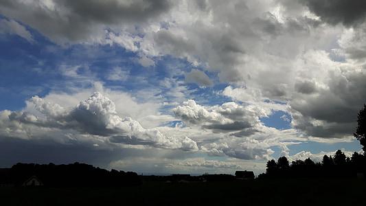 เมฆ, ท้องฟ้า, ภูมิทัศน์, เมฆสีดำ, ท้องฟ้าที่ครอบคลุม, คราม