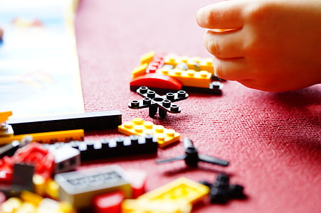 lego, build, building blocks, toys, children, hand, play
