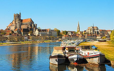 Burgundia, Auxerre, Panorama, Kota, Port, Yonne, pemandangan