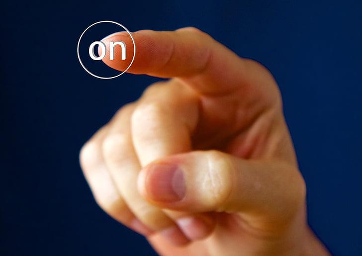 mà, dit, botó, interruptor, un, a, mà humana