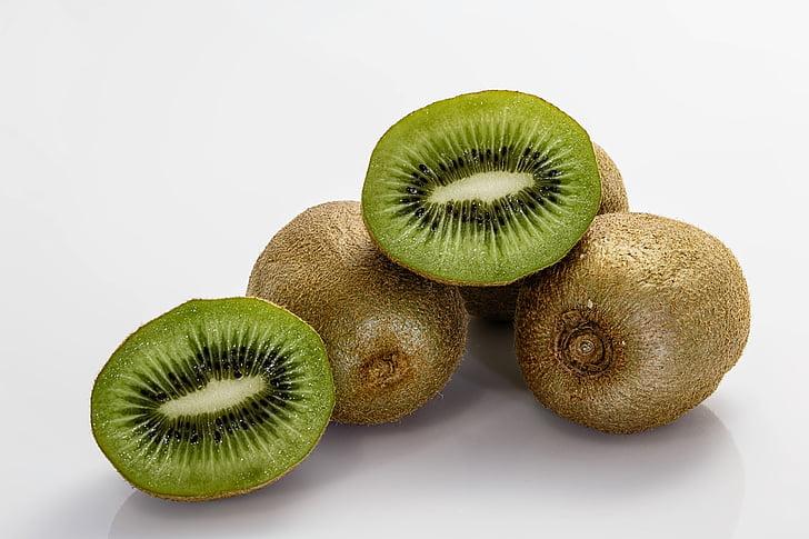viser, brun, grøn, frugt, kiwier, Kiwi, mad