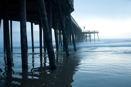beach, sunset, pismo, dock, california, evening, pier