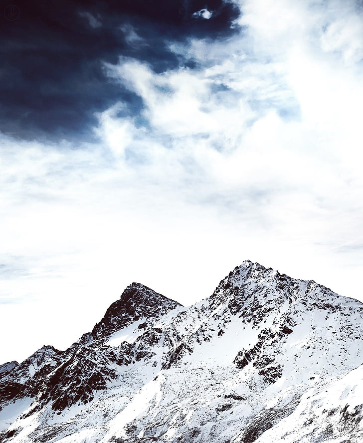 snow mountain, mountain top, snow, top, sky, blue, peak