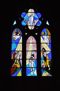 iekrāso, sienas, dekori, stikls, baznīcas logu, krāsains, Kristietība