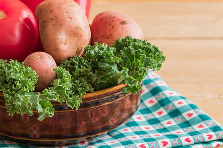 kelj, krumpir, šareno povrće, rajčica, jede, zdrav, svježe