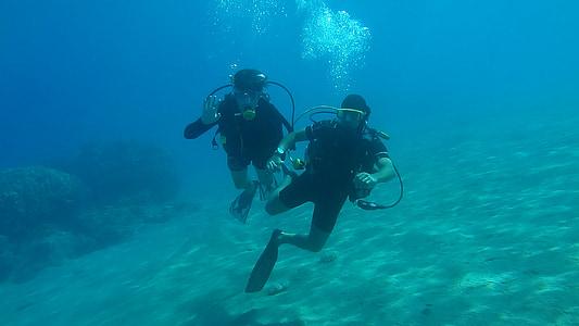 ronjenje, more, pod vodom, vode, plava, ljeto, oceana