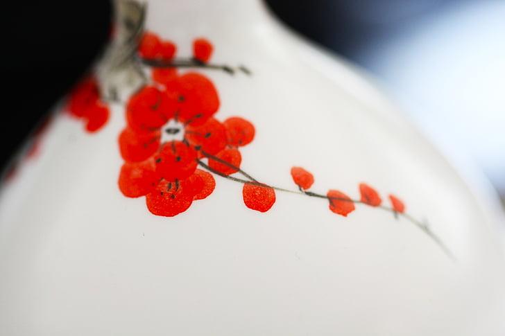 Plum blossom, tinta, üveg