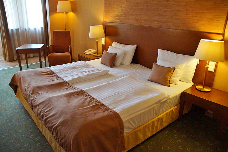 llit, llit doble, Hotel, sala, son, Habitació d'Hotel