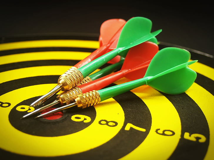 objectif, objectif, visant, jeu de fléchettes, objectif, mise au point, flèche