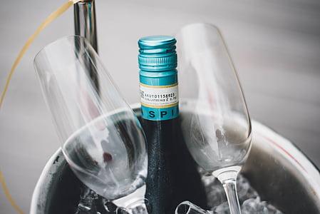 veini, pudel, valge, šampanja, klaas, ämber, jook