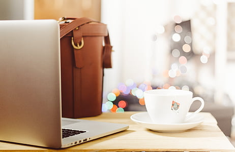 desk, table, laptop, notebook, coffee, business, office