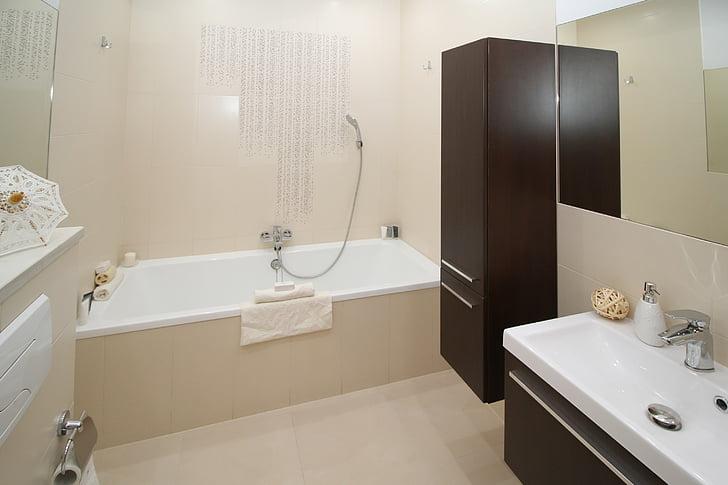 욕실, 목욕, 화장실, 화장실, 싱크, 미러, 아파트