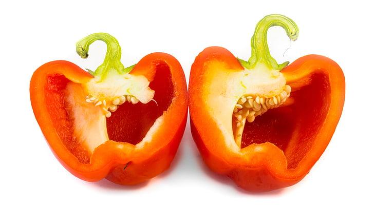 puu, paprika, viilutatud, tervise, punane, taimne, valgel taustal