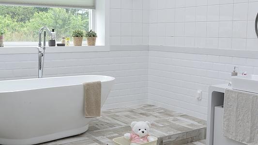 vannituba, akna, ruumi, Mullivann, päev, siseruumides, No inimesed