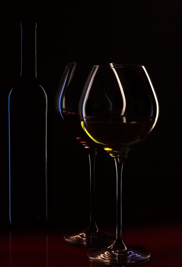 ampolla de vi, copes de vi, vi, ambient, carta de vins, líquid, vi negre