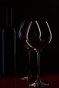 bottiglia di vino, bicchieri di vino, vino, ambiente, lista dei vini, liquido, vino rosso