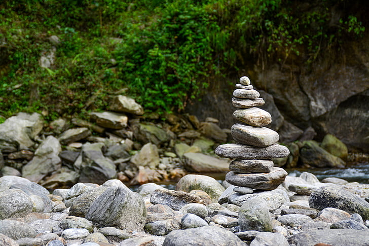 Free photo: balance, nature, outdoors, peace, river, rock ...