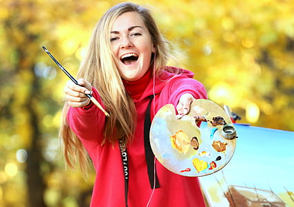 artist, drawing, girl, paint, palette, autumn, joy