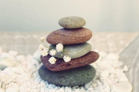 pierres, méditation, Balance, détente, gartendeko, conception de jardin, reste