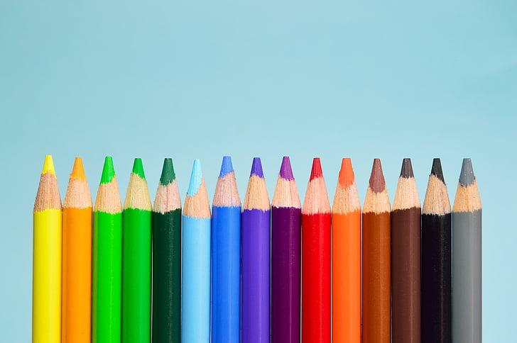 konstnärsmaterial, färgpennor, färgglada, färgpennor, färgglada
