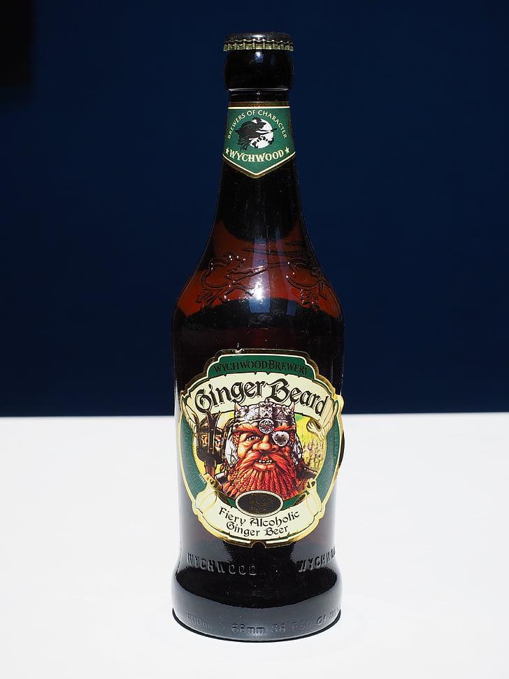 beer, beer bottle, ginger beard beer, drink, bottle, alcohol, glass