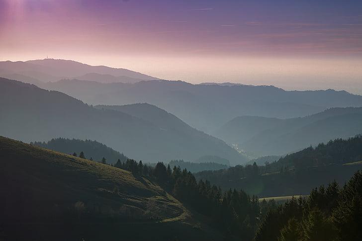 musta metsa, metsa, Hills, mäed, loodus, Sunrise, Sunset