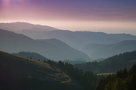 black forest, forest, hills, mountains, nature, sunrise, sunset