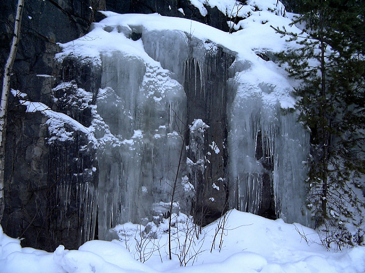 icefall, frozen waterfall, winter, cold, ice, snow, nature