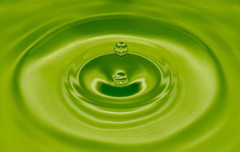 gota d'aigua, verd, ondulació, l'aigua, gota, natura, líquid