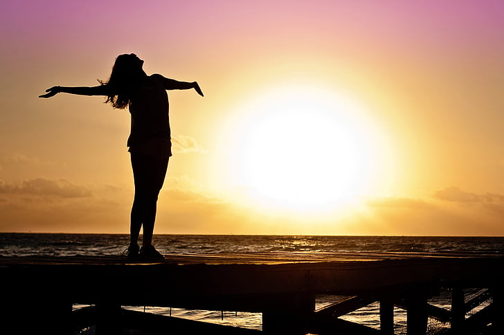 woman, girl, dom, happy, sun, silhouette, sunrise
