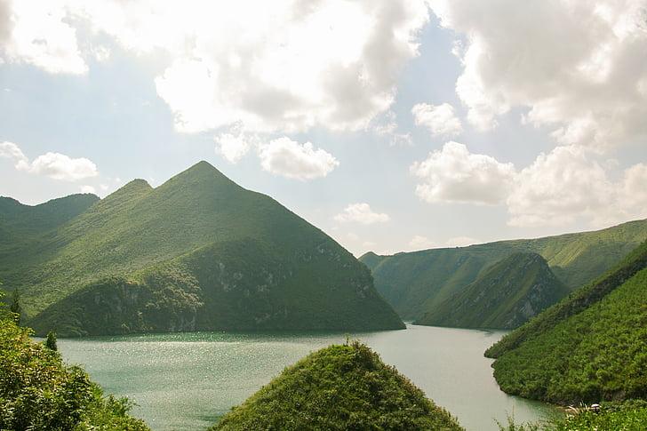 Guidžou, kraštovaizdžio, dekoracijos, Gamta, kalnų, ežeras, lauke