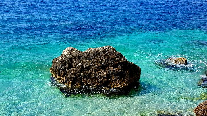 Pierre, mer, plage, nature, océan, eau, Rock