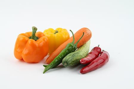 mrkva, luk, krastavac, povrće, povrća, zdrav, vegetarijanska