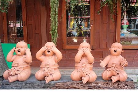 gyermekek, Buddha, dekoráció, ábra, gyerekek, játékok, bemahlung