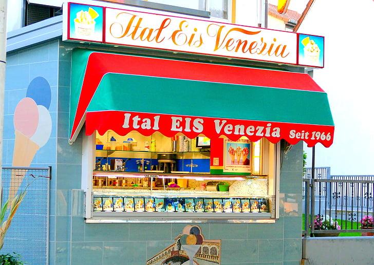 Eisladen, crème glacée, été, glace, douceur, délicieux, cornet de crème glacée