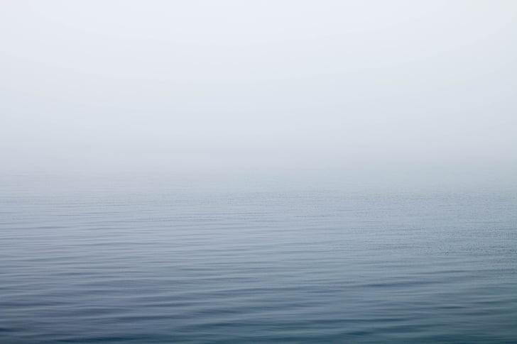 foggy, lake, mist, ocean, sea, tranquil, water