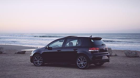 l'automòbil, automoció, platja, cotxe, Costa, Alba, capvespre