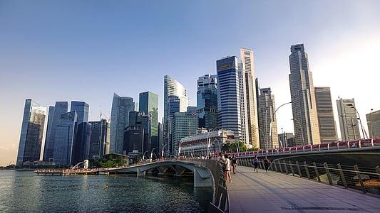Singapura, Sungai Singapura, Yobel jembatan, cakrawala, bangunan, air, distrik keuangan