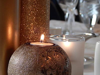 stearinlys, dekorative, dekoration, festlig, Candlelight, flamme, indretning