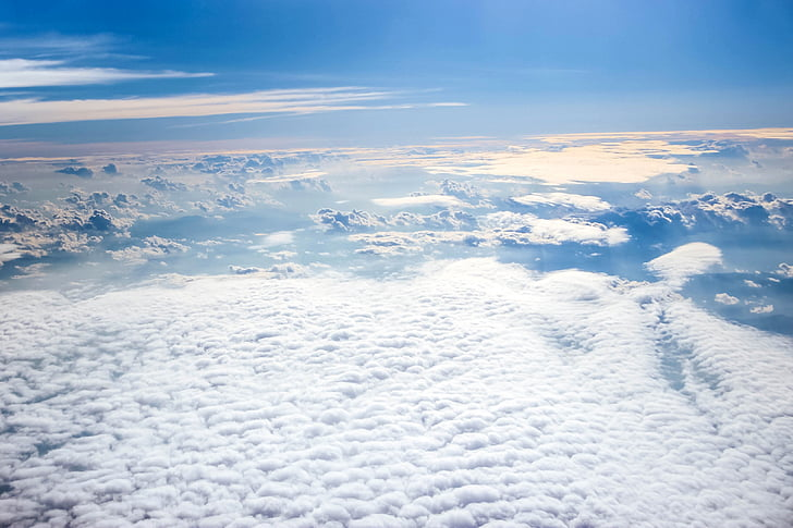 clouds on the world, sky, cloud, cloud view, blue, white, fluffy