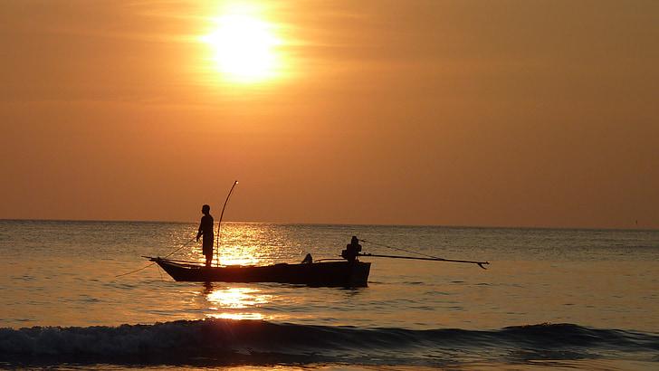 พระอาทิตย์ตก, fischer, ตกปลายาม, ทไวไลท์, ไทย, ธรรมชาติ, ตกปลา
